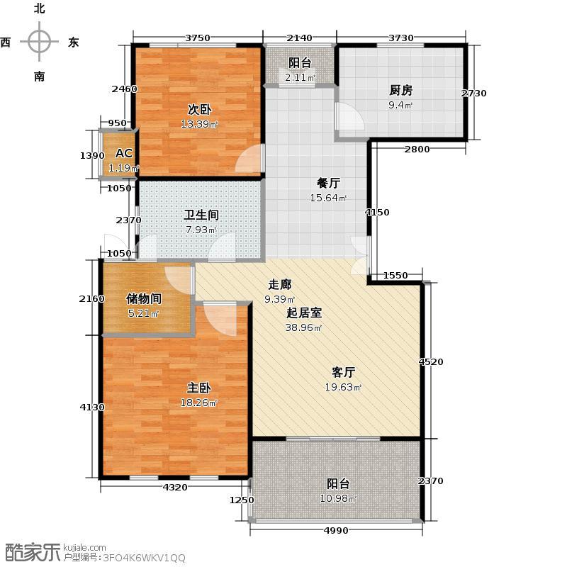 尚东国际(一期)房型户型2室1卫1厨