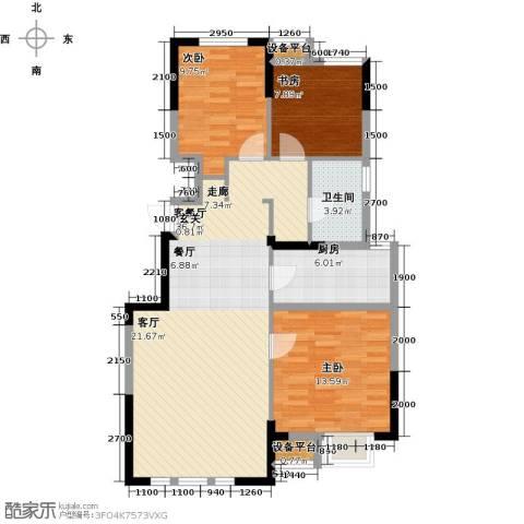 保利罗兰公馆3室1厅1卫1厨102.00㎡户型图