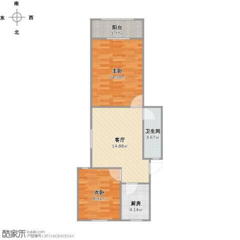 东湖花园2室1厅1卫1厨67.00㎡户型图