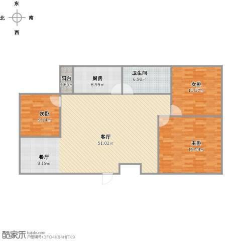 新天地小区3室1厅1卫1厨144.00㎡户型图