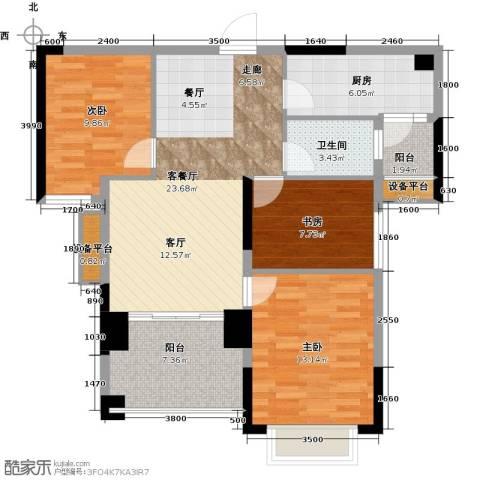 龙光・水悦龙湾3室1厅1卫1厨92.00㎡户型图