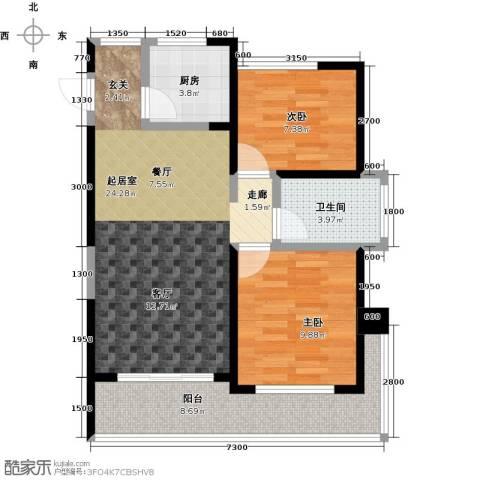 泽华・上东海岸2室0厅1卫1厨73.00㎡户型图