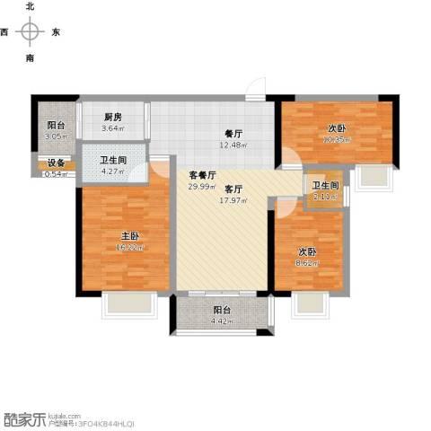 万豪水晶湾3室1厅2卫1厨117.00㎡户型图