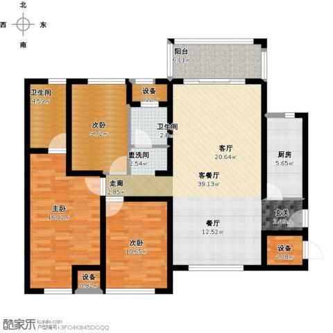 莲东凤凰城3室1厅2卫1厨143.00㎡户型图