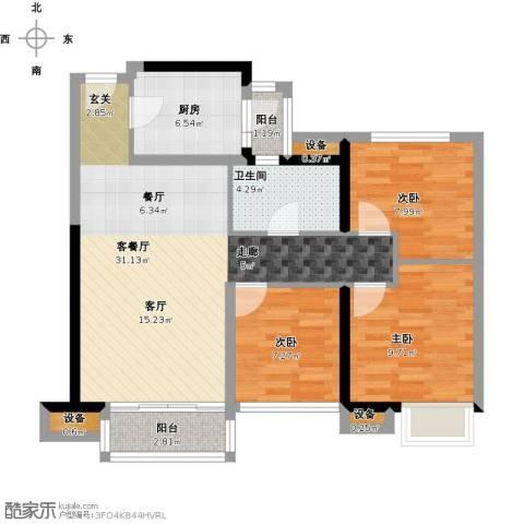 金地朗悦3室1厅1卫1厨99.00㎡户型图