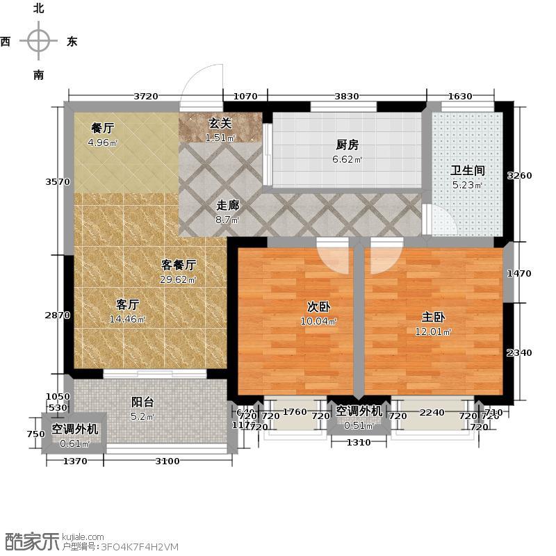 天鸿・尹山湖韵佳苑D1户型 1#标准层03室 约85平户型2室2厅1卫-副本