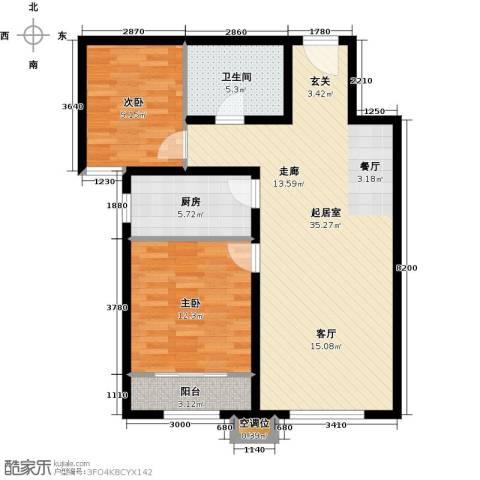 首创・悦都汇2室0厅1卫1厨81.00㎡户型图