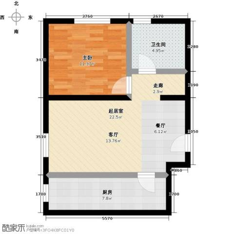 丰台大红门油毡厂地块1室0厅1卫1厨54.00㎡户型图