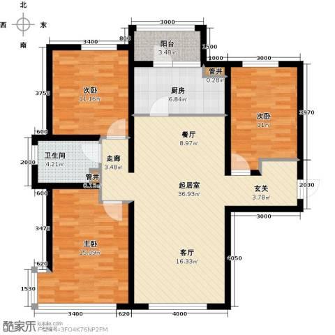 富力城3室0厅1卫1厨120.00㎡户型图