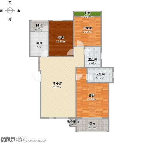 辰兴天御3室1厅2卫1厨133.00㎡户型图