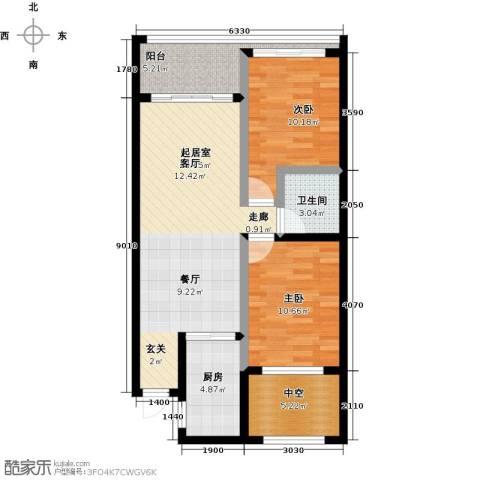 东方・山海湾2室0厅1卫1厨63.64㎡户型图