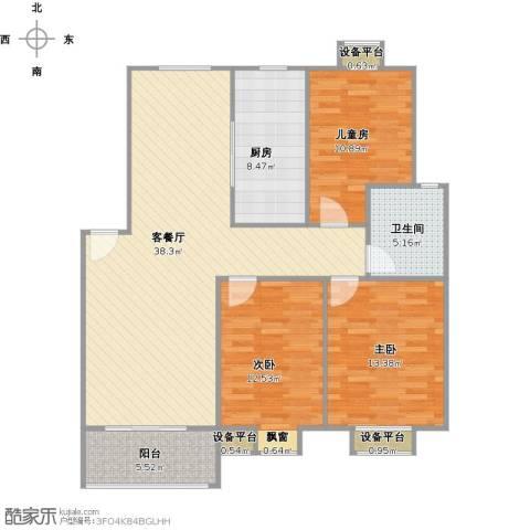 垠领城市街区3室1厅1卫1厨130.00㎡户型图