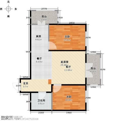 和苑2室0厅1卫0厨74.00㎡户型图