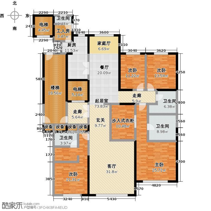 紫辰院户型4室4卫1厨