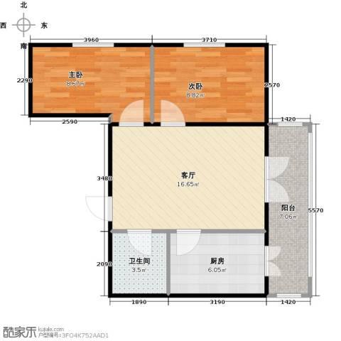 和苑2室1厅1卫1厨69.00㎡户型图