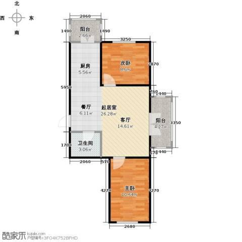 和苑2室0厅1卫0厨75.00㎡户型图