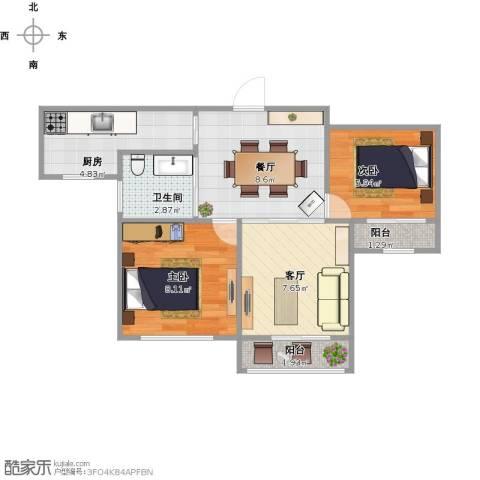 公园天下2室2厅1卫1厨57.00㎡户型图
