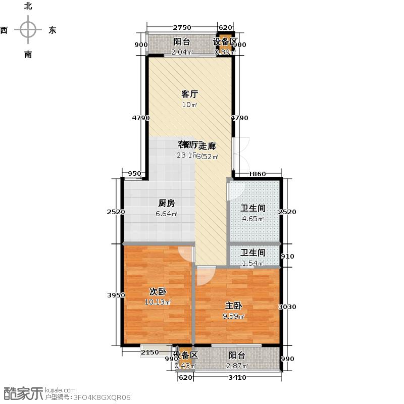 昊业・紫御府94.38㎡一期二号楼A户型 两室一厅一卫户型2室1厅2卫