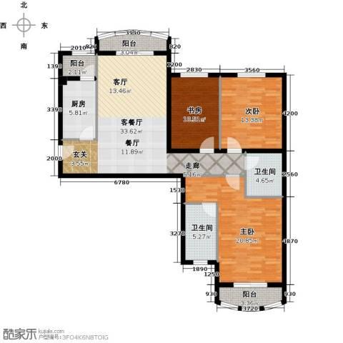 秋实��汇3室1厅2卫1厨119.00㎡户型图