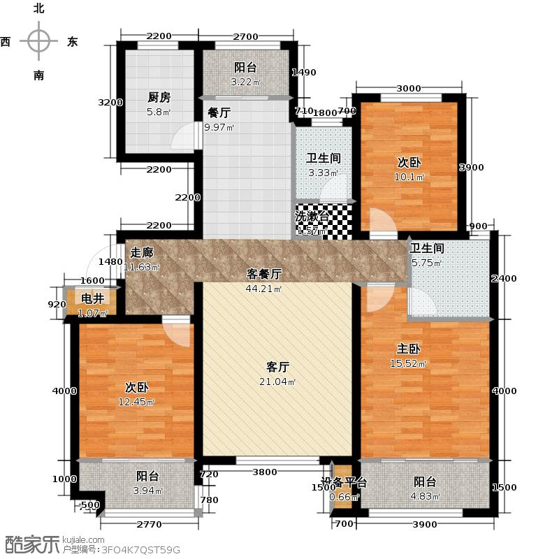 银丰唐郡148.00㎡B2户型3室2厅2卫