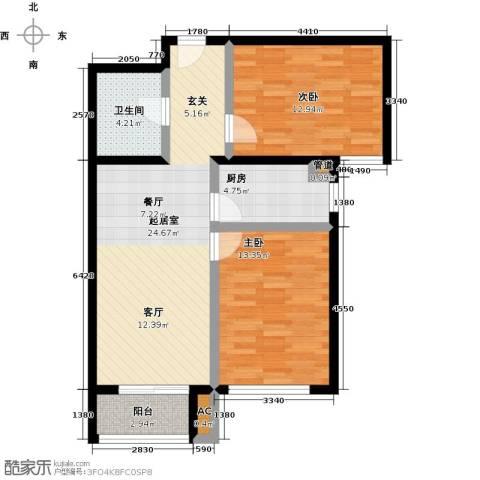 丰台大红门油毡厂地块2室0厅1卫1厨74.00㎡户型图