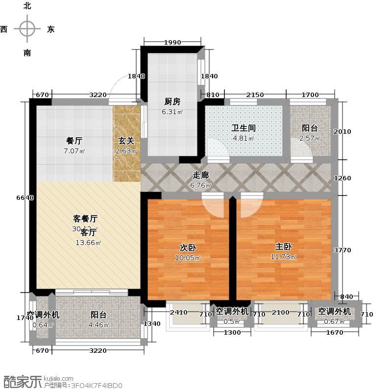 天鸿・尹山湖韵佳苑D2户型 9#标准层03室 约85平户型2室2厅1卫