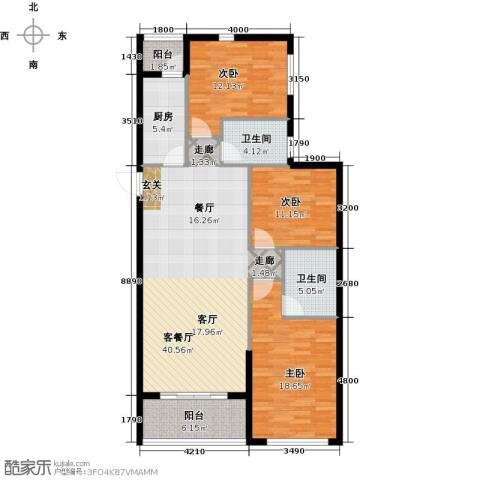 恒大御景湾3室1厅2卫1厨135.00㎡户型图