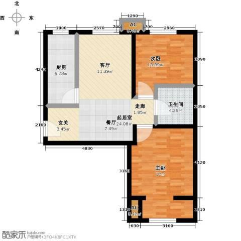丰台大红门油毡厂地块2室0厅1卫1厨73.00㎡户型图