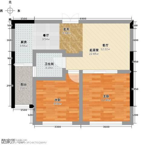 协众水岸风华2室0厅1卫0厨73.00㎡户型图
