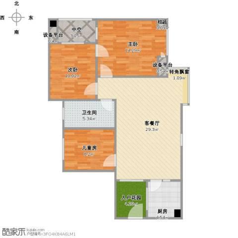 兴发金域丽江3室1厅1卫1厨109.00㎡户型图