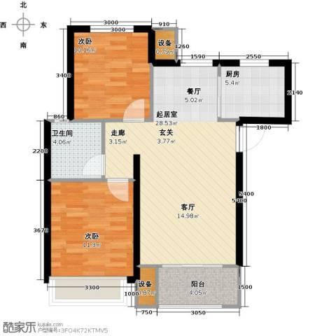 学府丽城2室0厅1卫1厨81.00㎡户型图