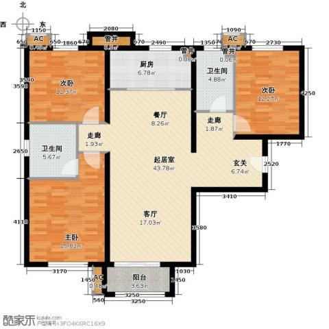 首创・悦都汇3室0厅2卫1厨122.00㎡户型图