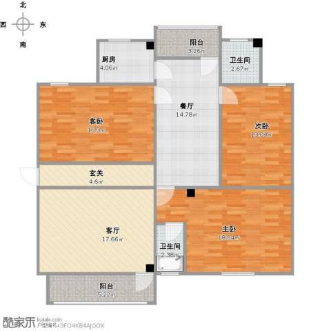金湖雅苑3室2厅2卫1厨139.00㎡户型图
