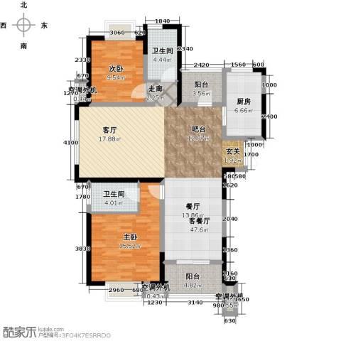 天鸿・尹山湖韵佳苑2室1厅2卫1厨140.00㎡户型图