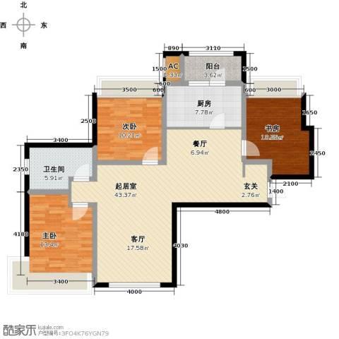 富力城3室0厅1卫1厨130.00㎡户型图