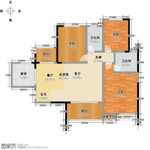 恒大御景湾3室0厅2卫1厨133.00㎡户型图