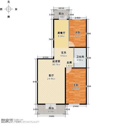 和苑2室0厅1卫0厨100.00㎡户型图
