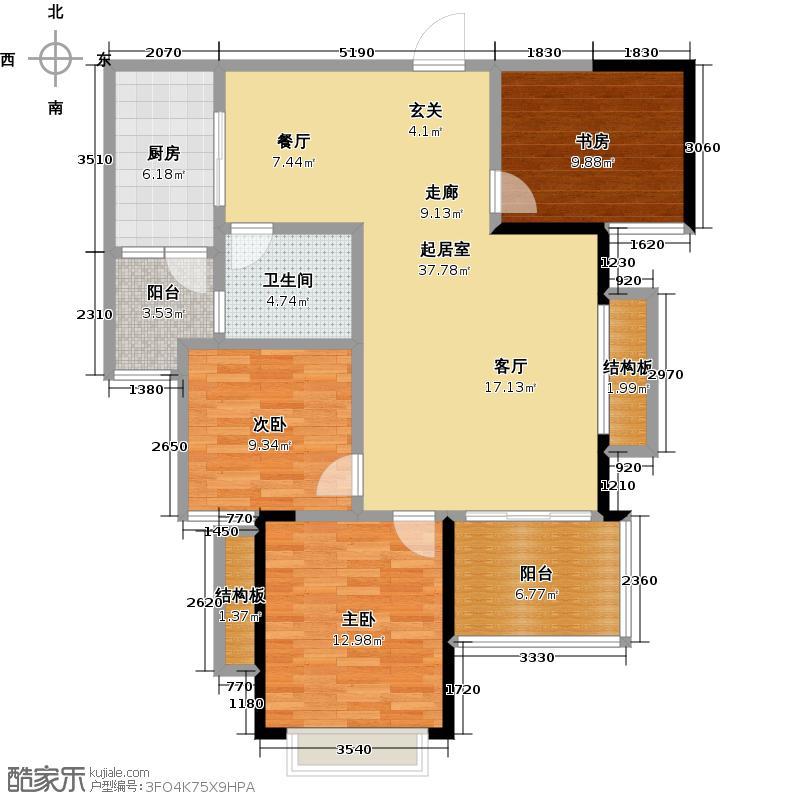 恒大御景湾107.00㎡2号楼1单元三室两厅一卫建筑面积104平米-107平米户型3室2厅1卫