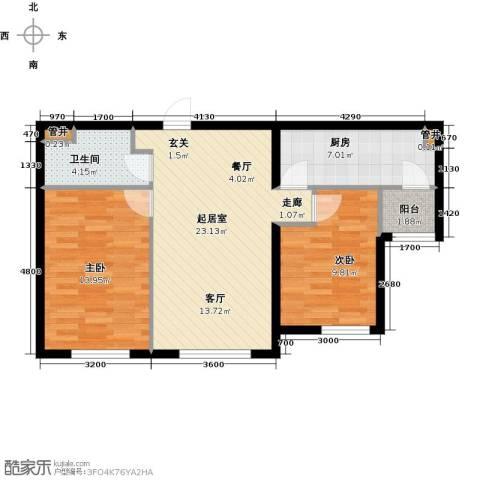 富力城2室0厅1卫1厨82.00㎡户型图
