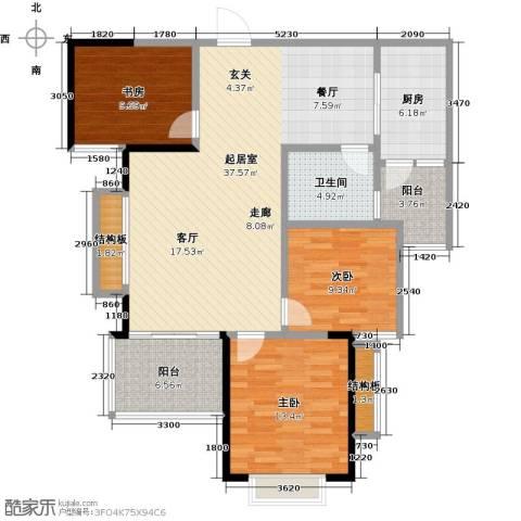 恒大御景湾3室0厅1卫1厨107.00㎡户型图