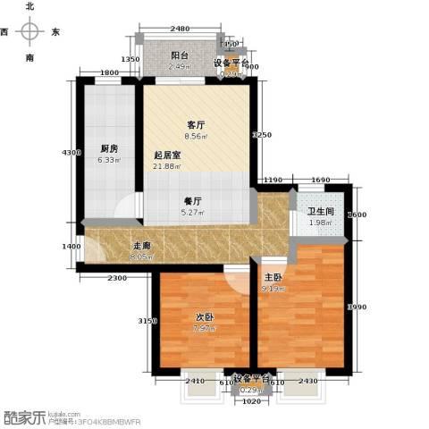 上上城理想新城2室0厅1卫1厨75.00㎡户型图