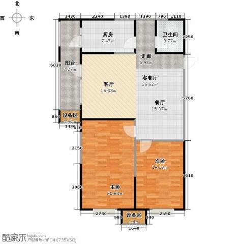 抚顺万达广场2室1厅1卫1厨124.00㎡户型图