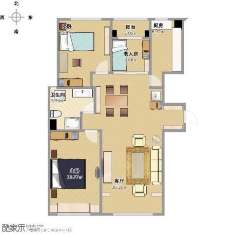 博维新坐标3室1厅1卫1厨114.00㎡户型图