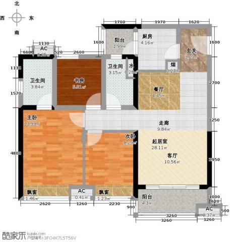 珠江观澜御景3室0厅2卫1厨110.00㎡户型图