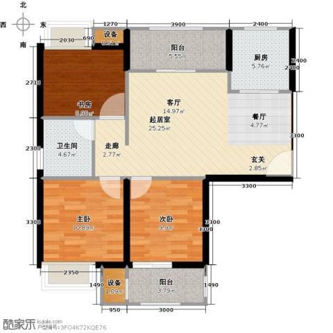 学府丽城3室0厅1卫1厨93.00㎡户型图