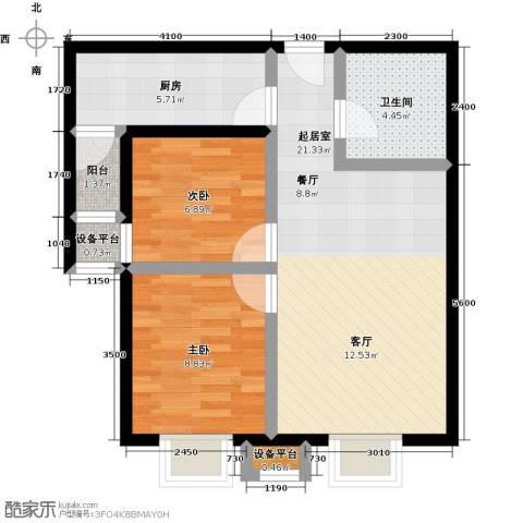 上上城理想新城2室0厅1卫1厨74.00㎡户型图