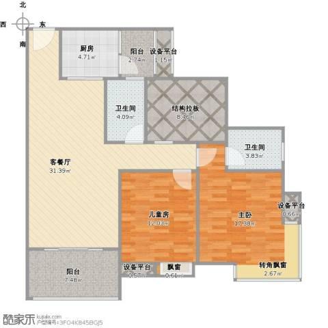 九鼎蓝波湾2室1厅2卫1厨129.00㎡户型图