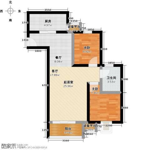 上上城理想新城2室0厅1卫1厨78.00㎡户型图