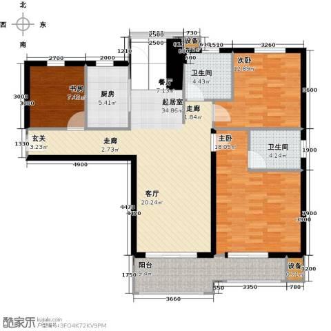学府丽城3室0厅2卫1厨125.00㎡户型图