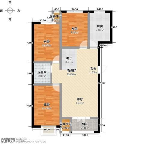 金港花园3室1厅1卫1厨109.00㎡户型图